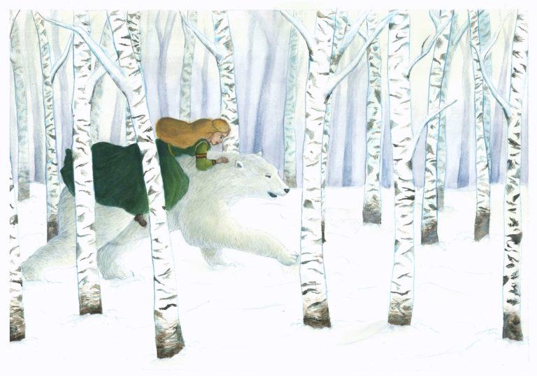 Illustration conte fantasy jeunesse ours princesse océane azeau