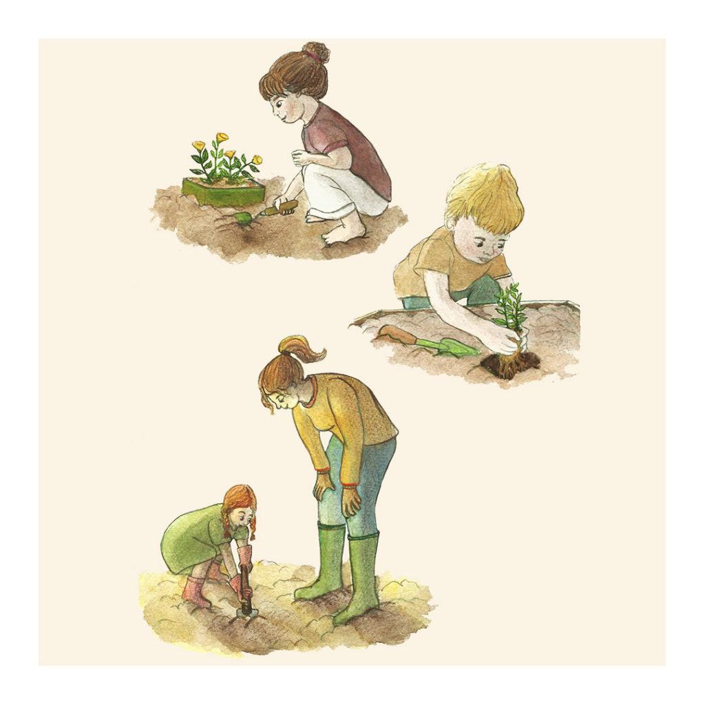 Illustration jeunesse enfants jardin océane azeau