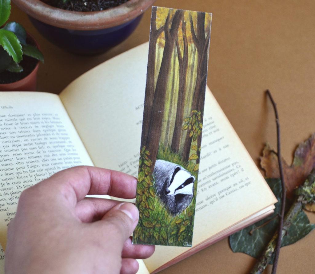 marque page blaireau forêt automne océane azeau illustration