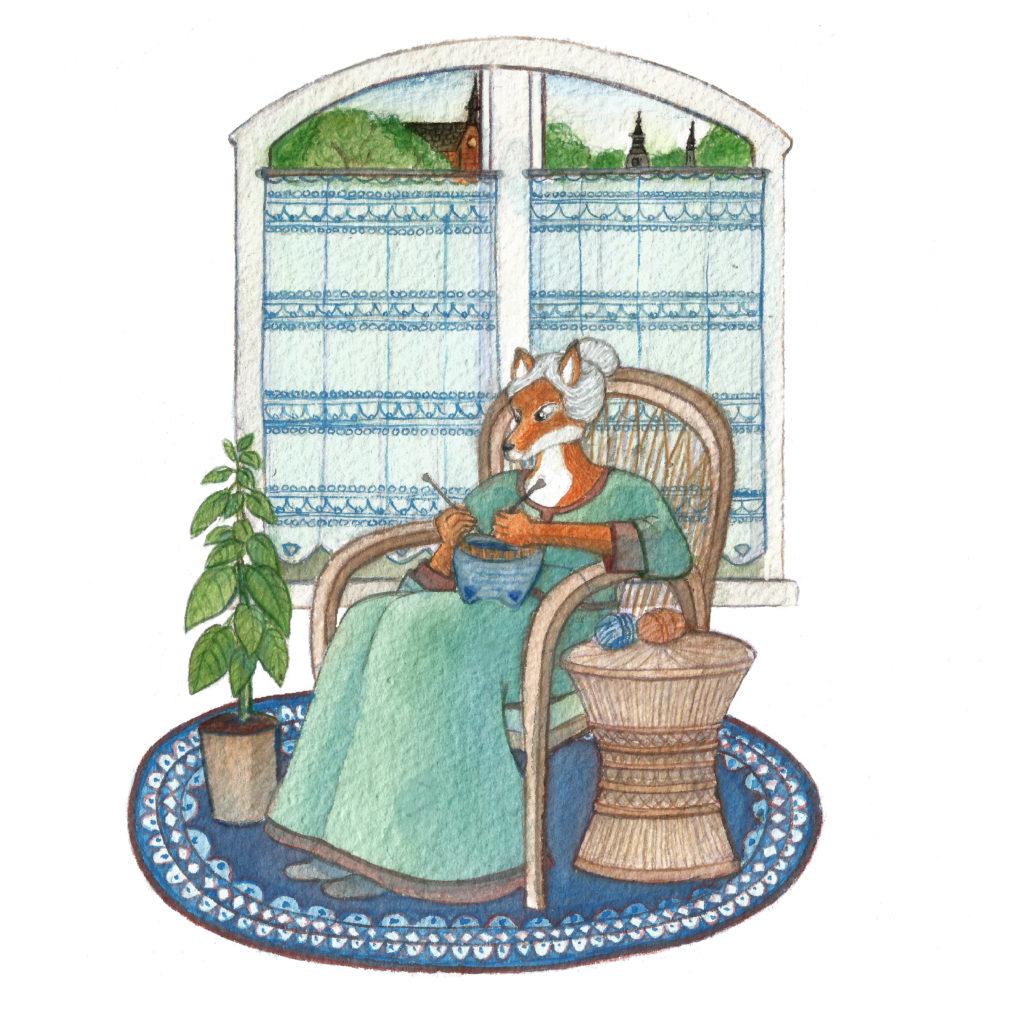 illustration renard tricot gouache