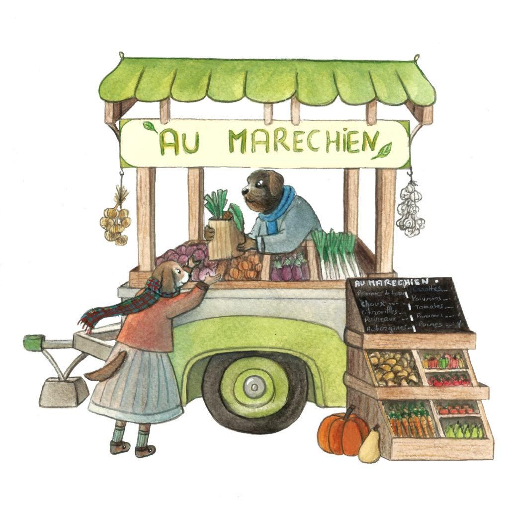 illustration marché legumes chien gouache