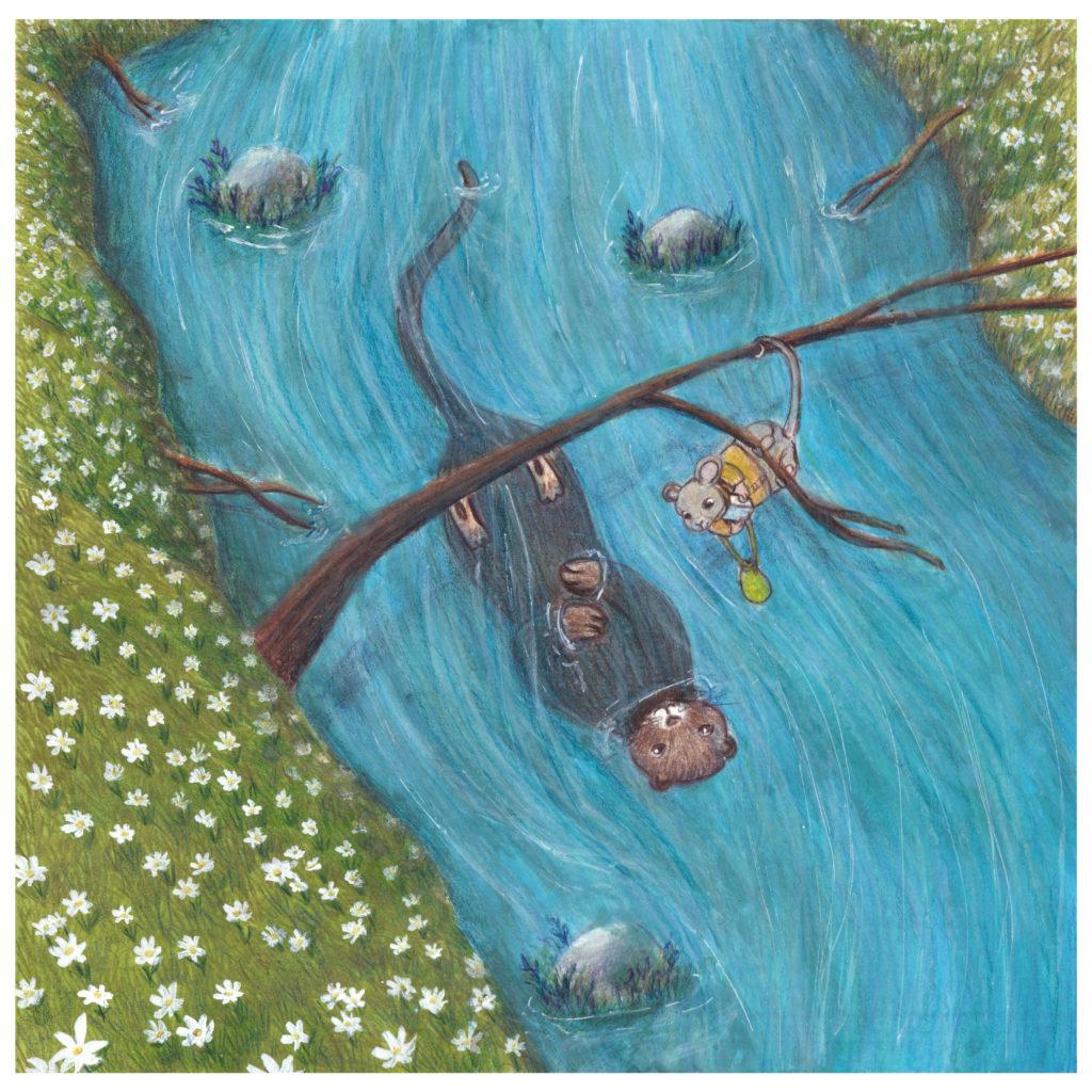 illustration rivière loutre