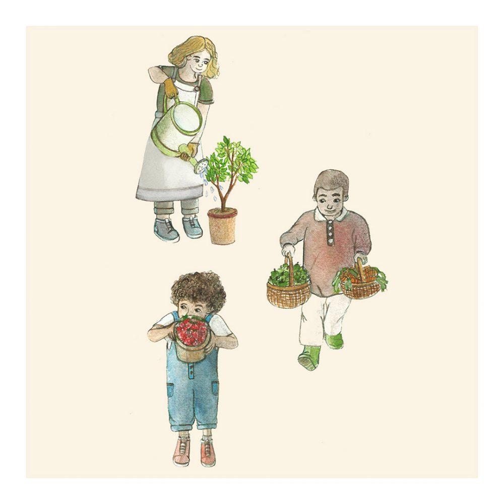 Illustration jeunesse enfant jardin océane azeau