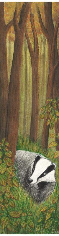 Illustration blaireau marque page océane azeau